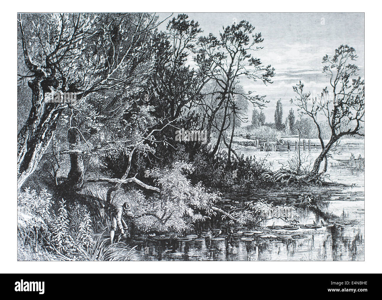Temple Lock near Marlow _Illustration from 'The British isles - Cassell Petter & Galpin Part 10 Picturesque - Stock Image
