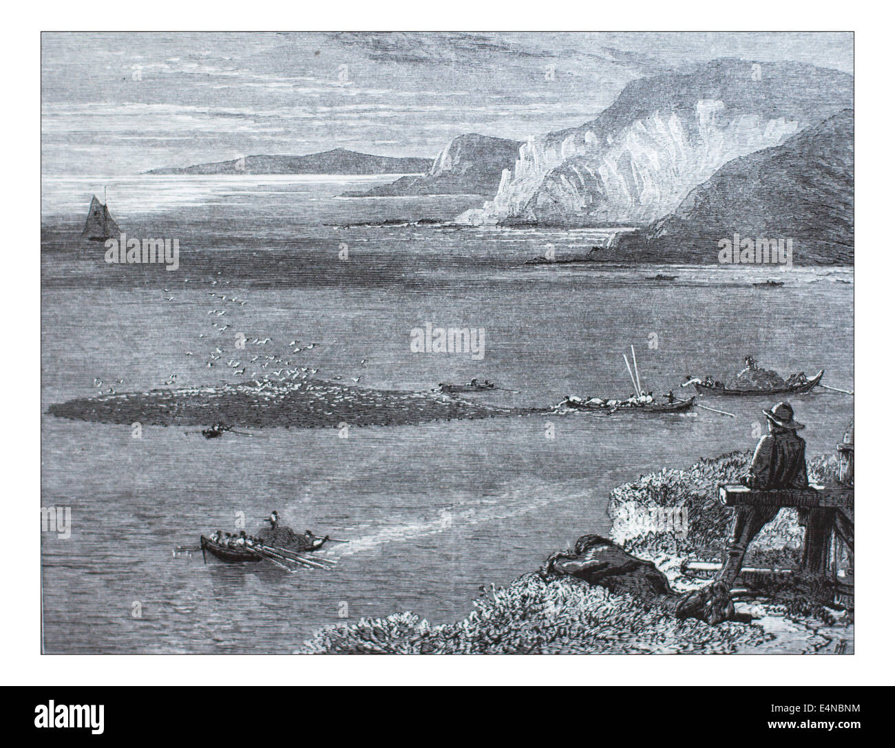 Pilchard Fishing of the Lizard_Illustration from 'The British isles - Cassell Petter & Galpin Part 10 Picturesque - Stock Image