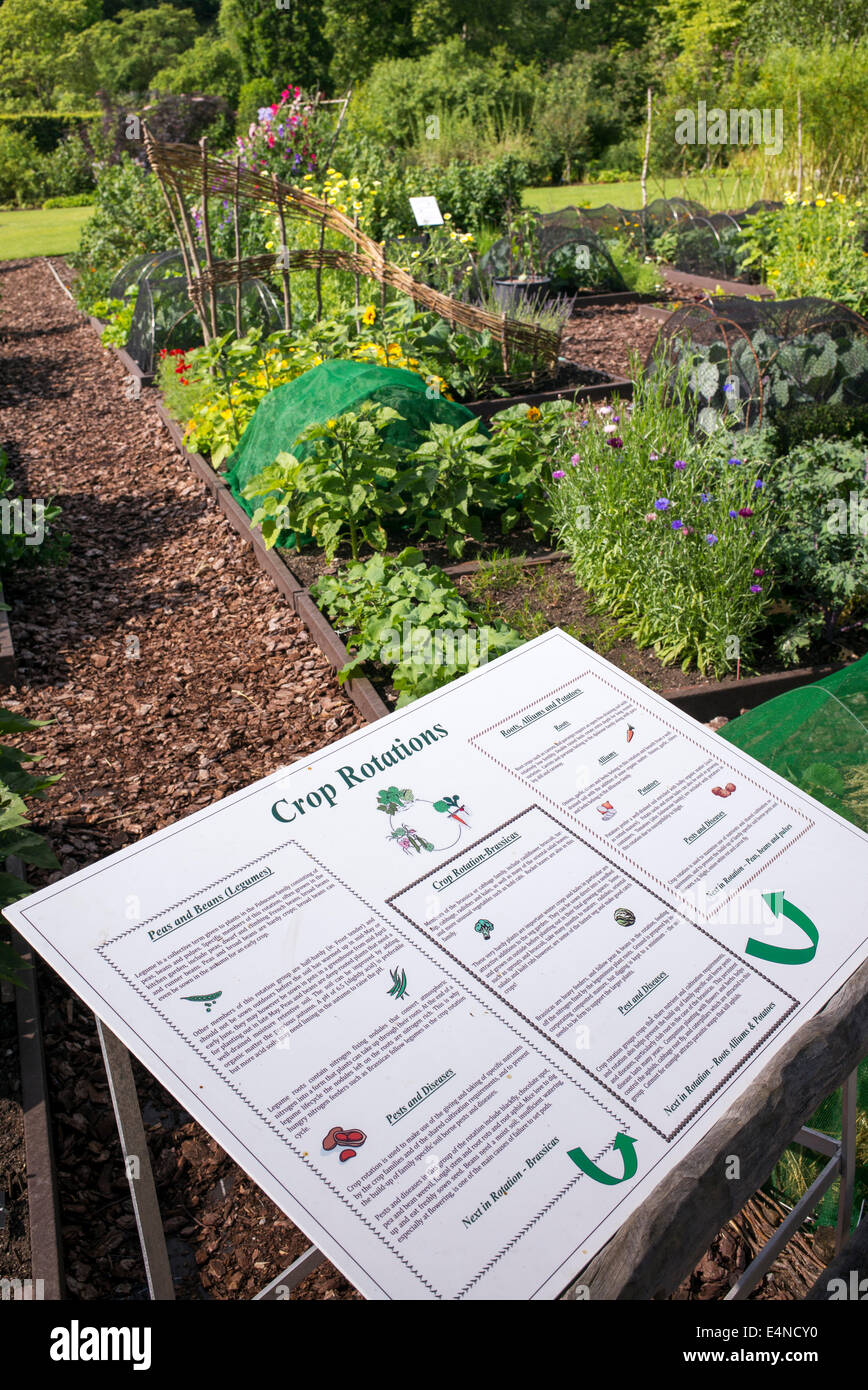 Crop Rotation sign in front of the vegetable gardens at RHS Harlow Carr. Harrogate, England - Stock Image