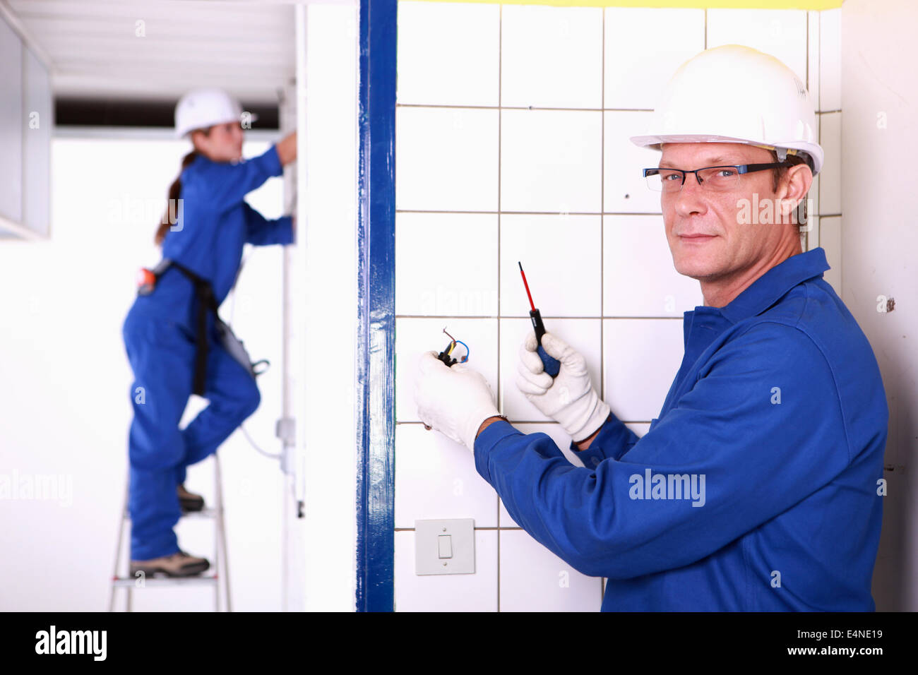 Electricians Wiring Bathroom Stock Photos House A Image