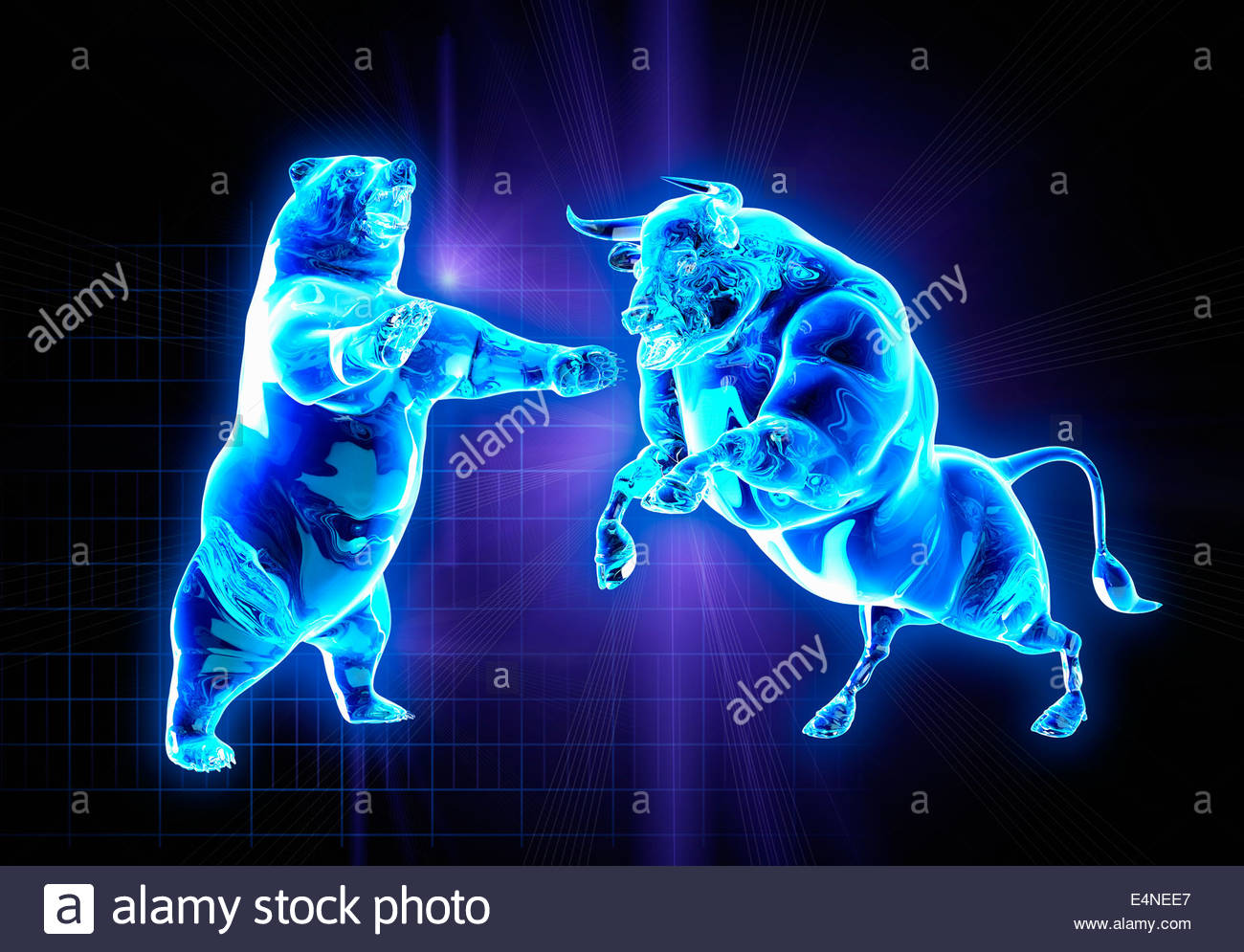 Glowing fighting bull and bear stock market symbols - Stock Image