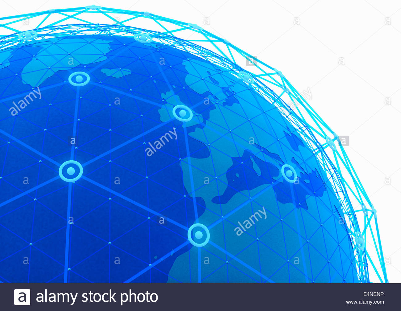 Blue network grid covering globe focused on Europe - Stock Image