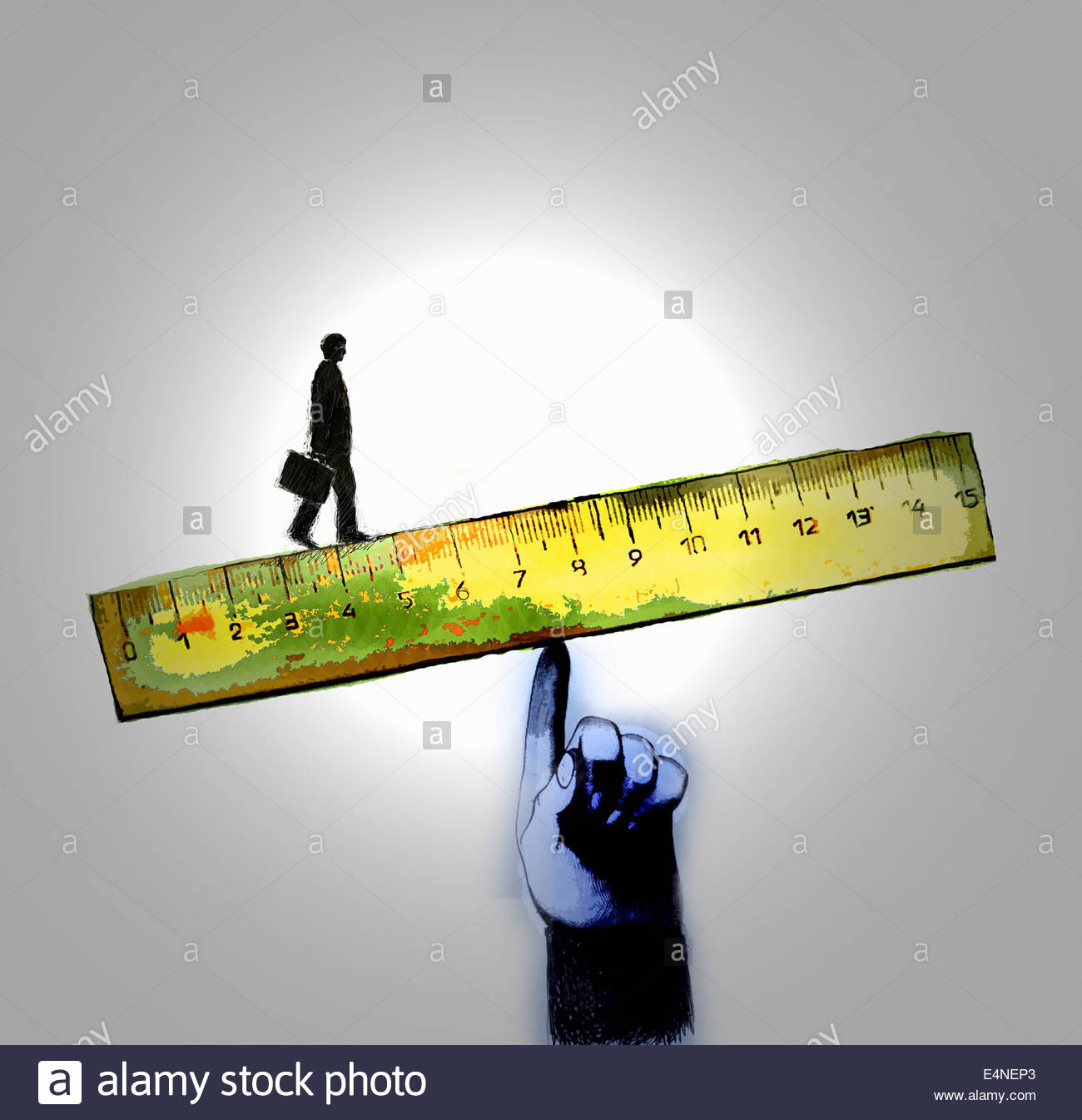 Businessman walking on edge of ruler supported by large finger - Stock Image