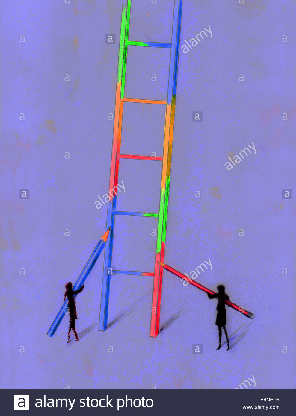 Two businesswomen working together coloring large ladder - Stock Image