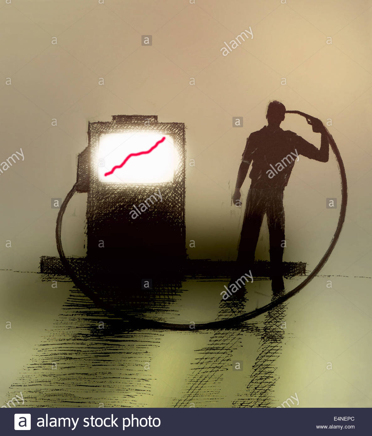 Man holding gas pump nozzle to head beside rising price graph on gauge - Stock Image
