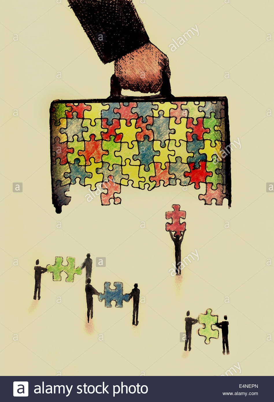 Business people working together assembling multicolored briefcase with jigsaw puzzle pieces - Stock Image