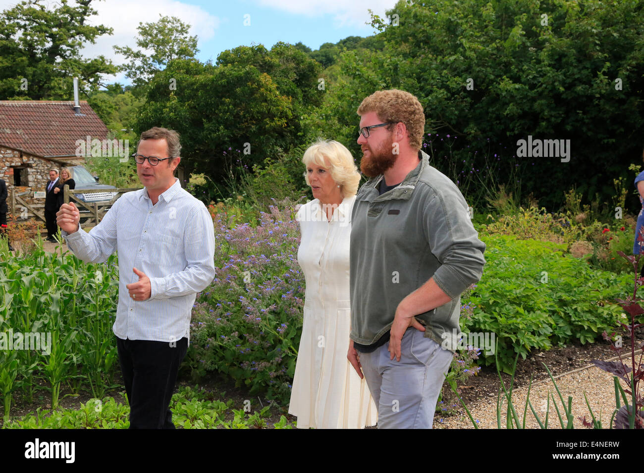River Cottage, Axminster, Devon, UK. 15th July 2014. Prince Charles and Camilla, Duchess of Cornwall, tour River - Stock Image