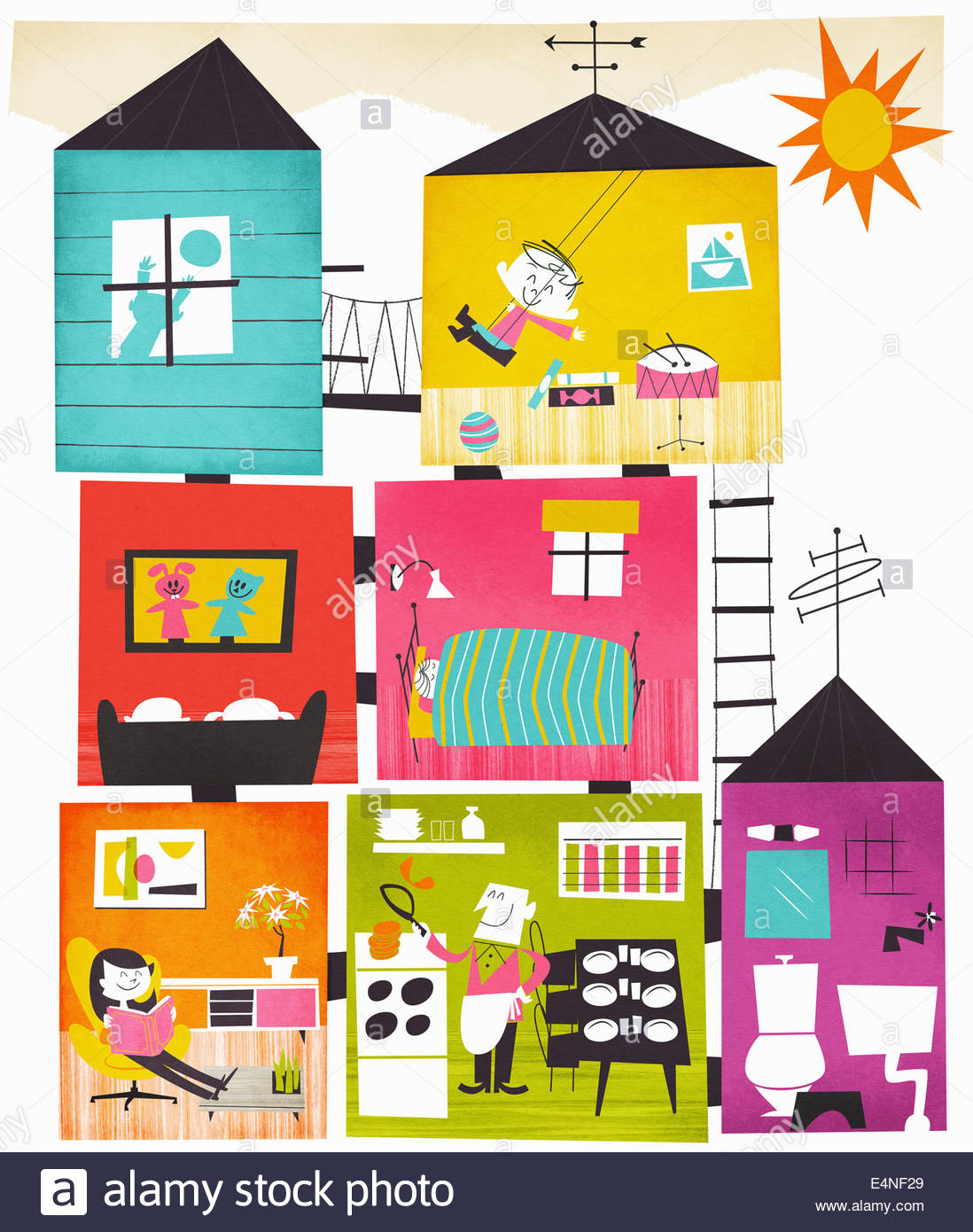 Family enjoying leisure activities at home in cross section of rooms of house - Stock Image
