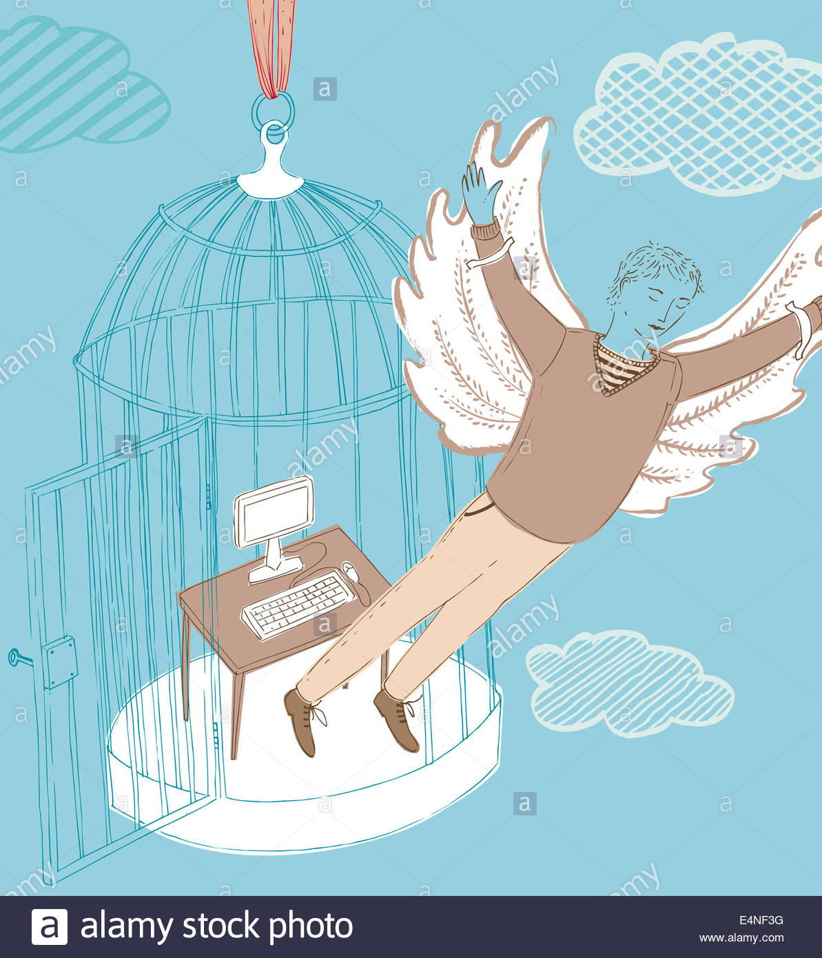 Businessman with wings escaping office inside of birdcage - Stock Image