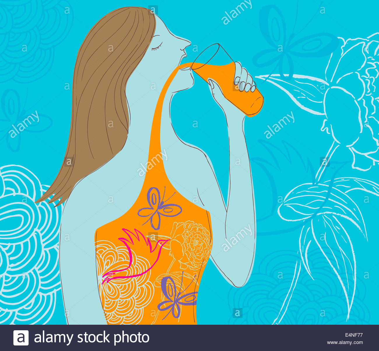Woman drinking natural juice - Stock Image