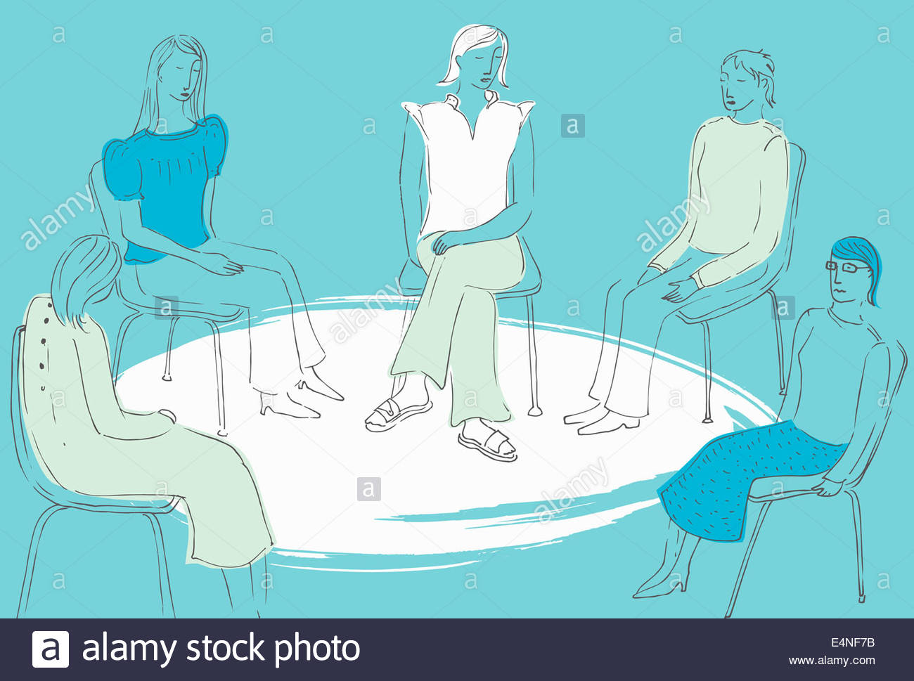 Women sitting together in a circle in support group - Stock Image