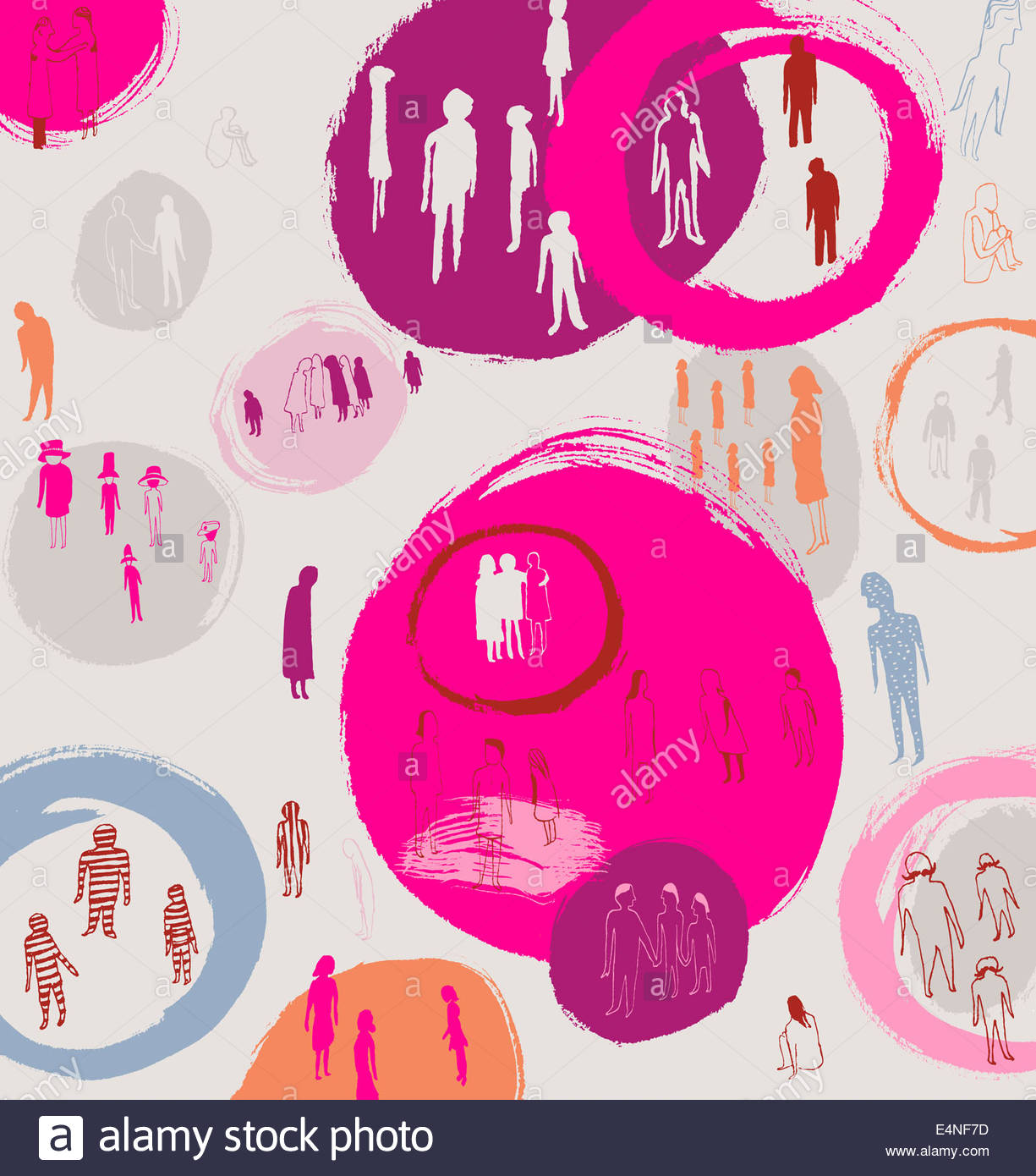 People segregated into groups by circles or excluded outside - Stock Image