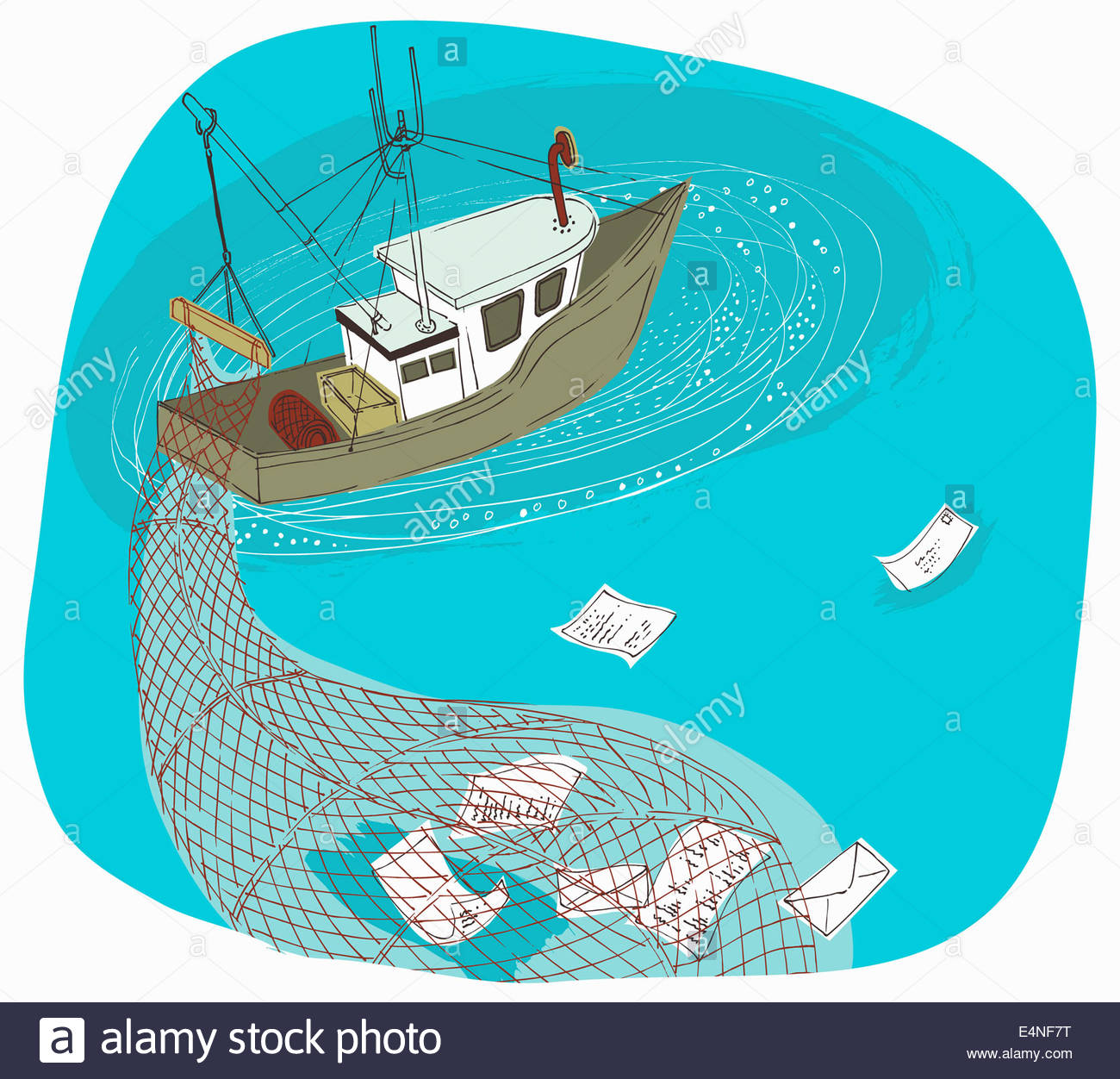 Trawler boat with net phishing and gathering information - Stock Image