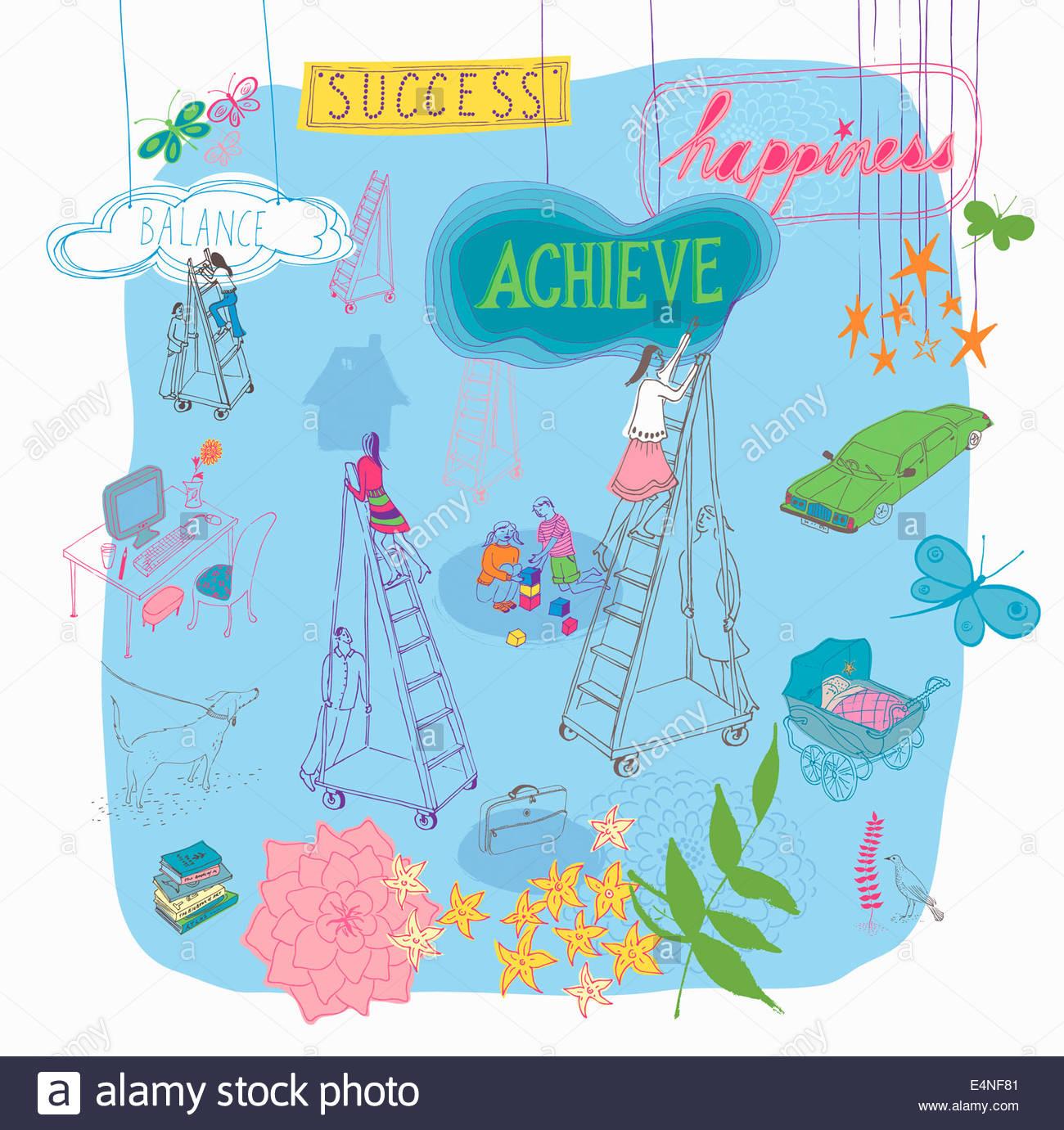 Multitasking women climbing ladders to future success balancing family and work life - Stock Image