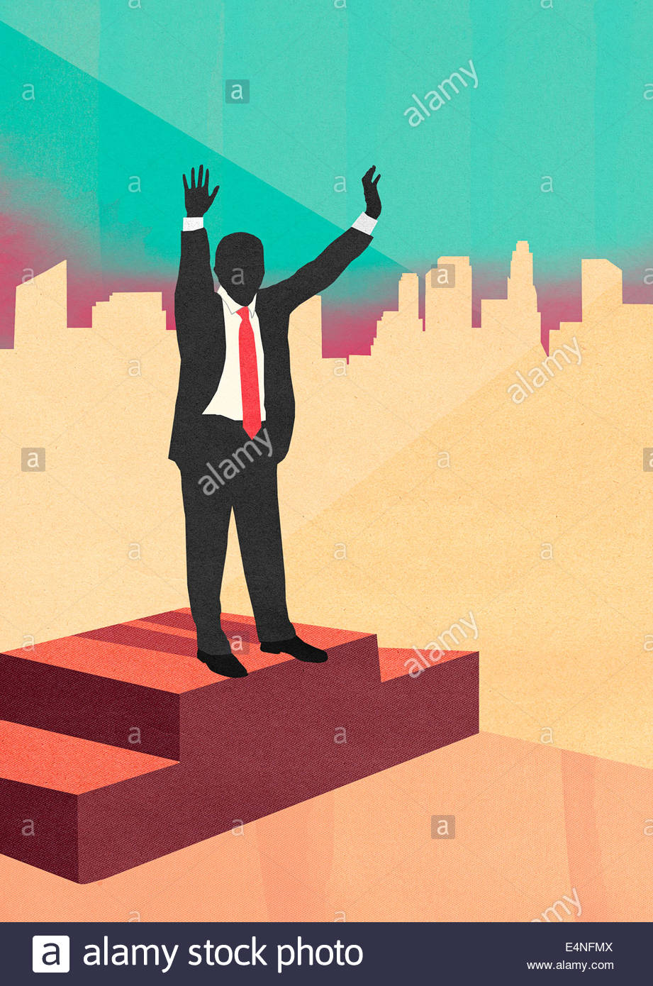 Businessman celebrating victory with arms raised on podium - Stock Image