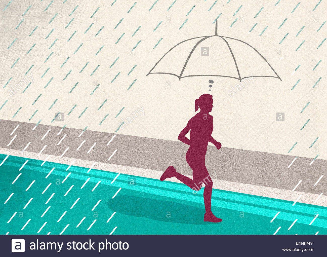 Focused woman protected from rain by imagining umbrella while running - Stock Image