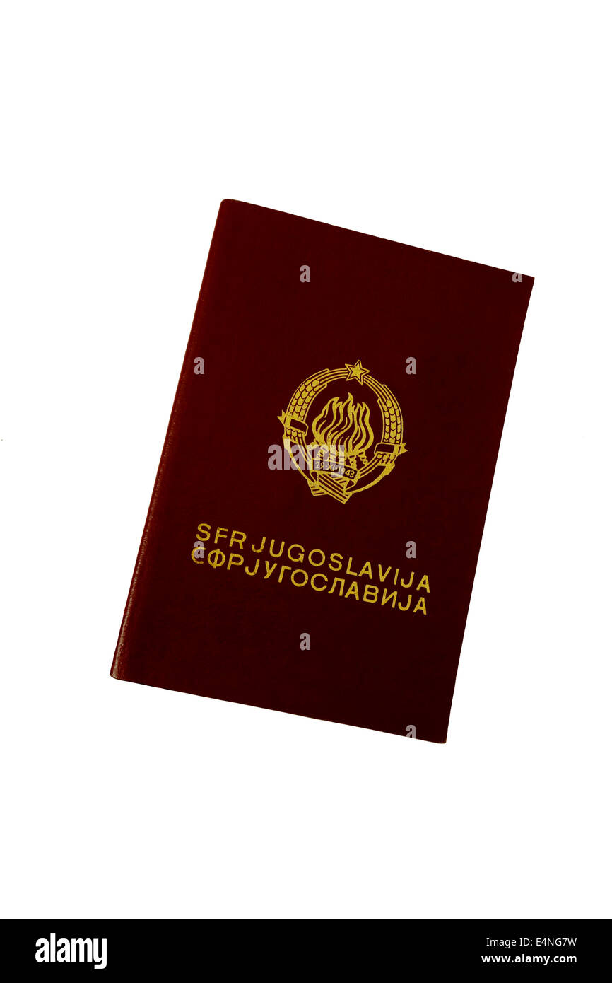 Old Ex Yugoslavia passport travel document - Stock Image
