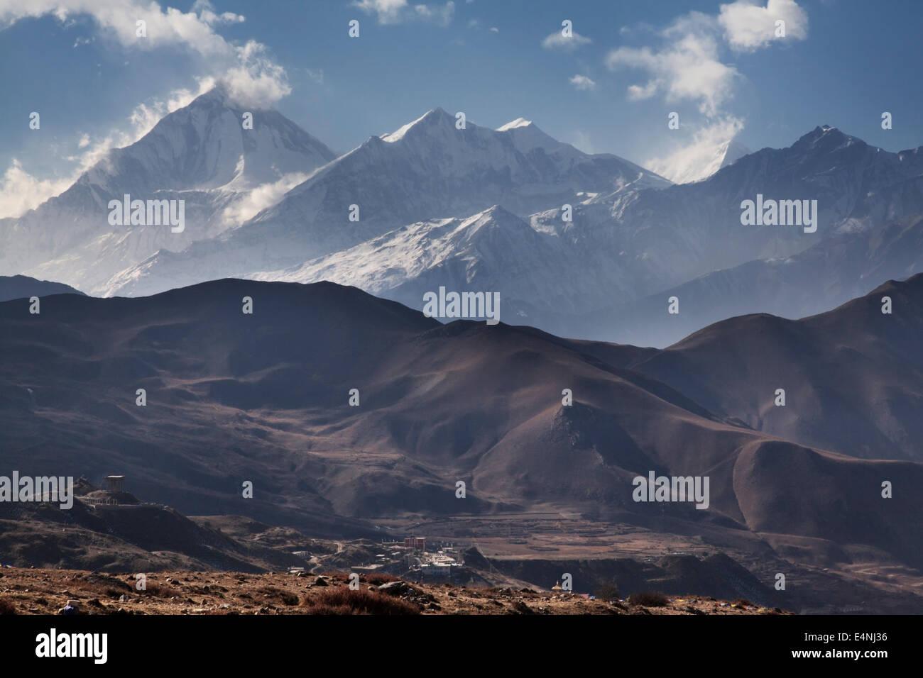 Dhaulagiri from the Thorung La Pass, above Muktinath, Annapurna Circuit, Nepal - Stock Image