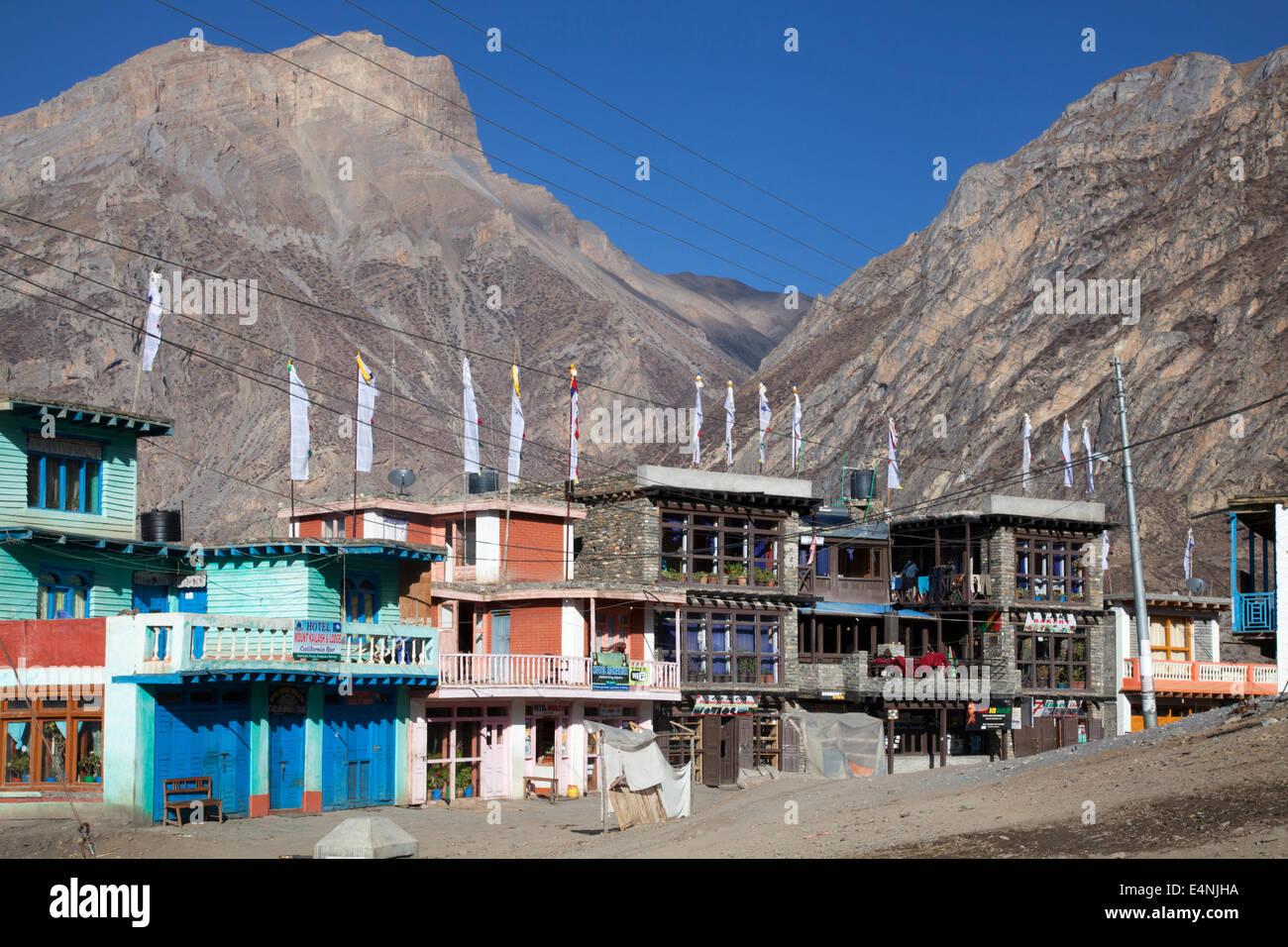 Muktinath Town, Annapurna Circuit, Mustang District, Nepal - Stock Image