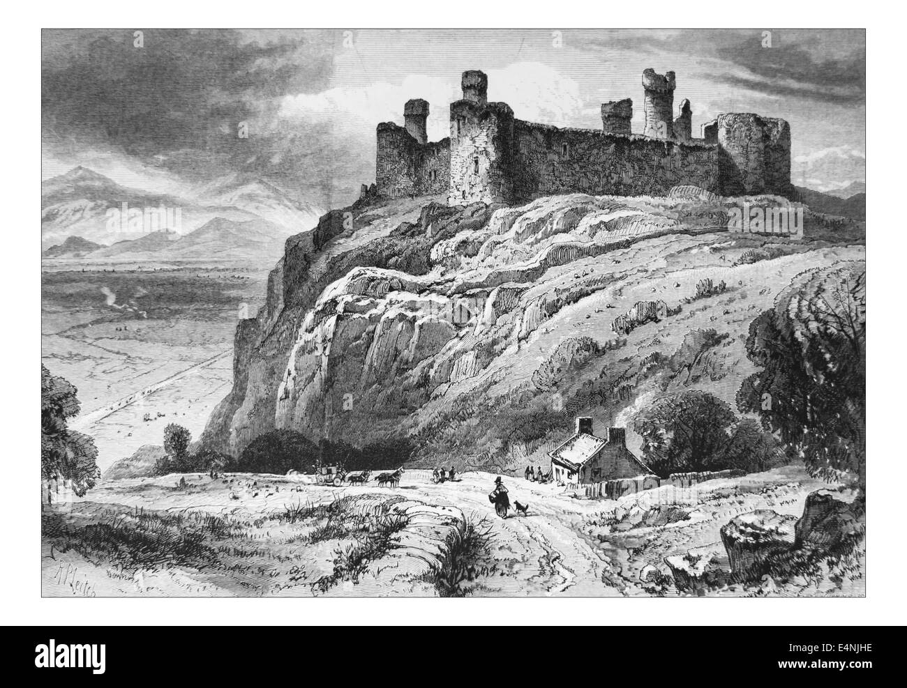 Harlech Castle, Wales _Illustration from 'The British isles - Cassell Petter & Galpin Part 19 Picturesque - Stock Image