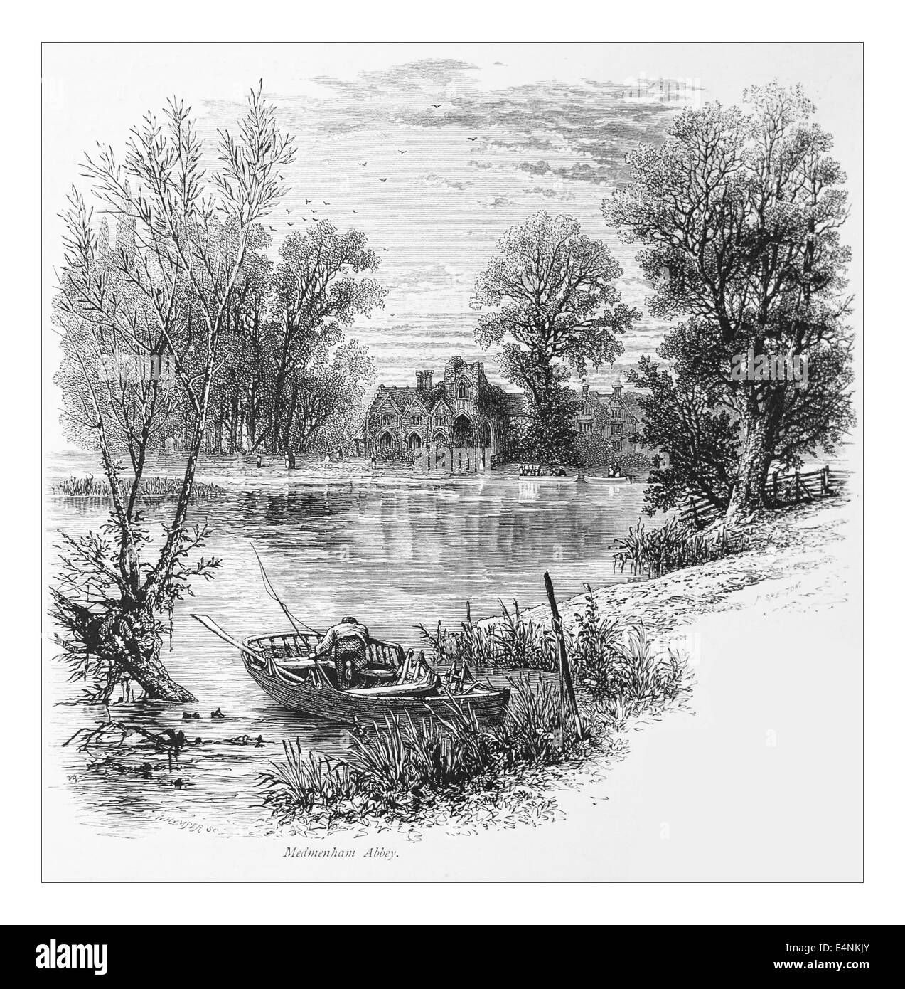 Medmenham Abbey Illustration from 'The British isles - Cassell Petter & Galpin Part 19 Picturesque Europe. 1877' Stock Photo