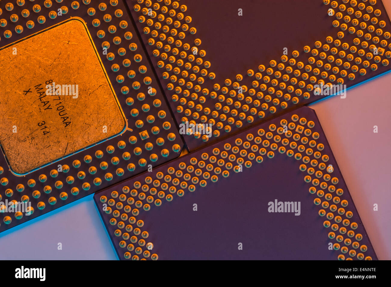 Legacy Intel / AMD PC processors showing gold pinout (staggered PGA) arrangements of the different designs. - Stock Image