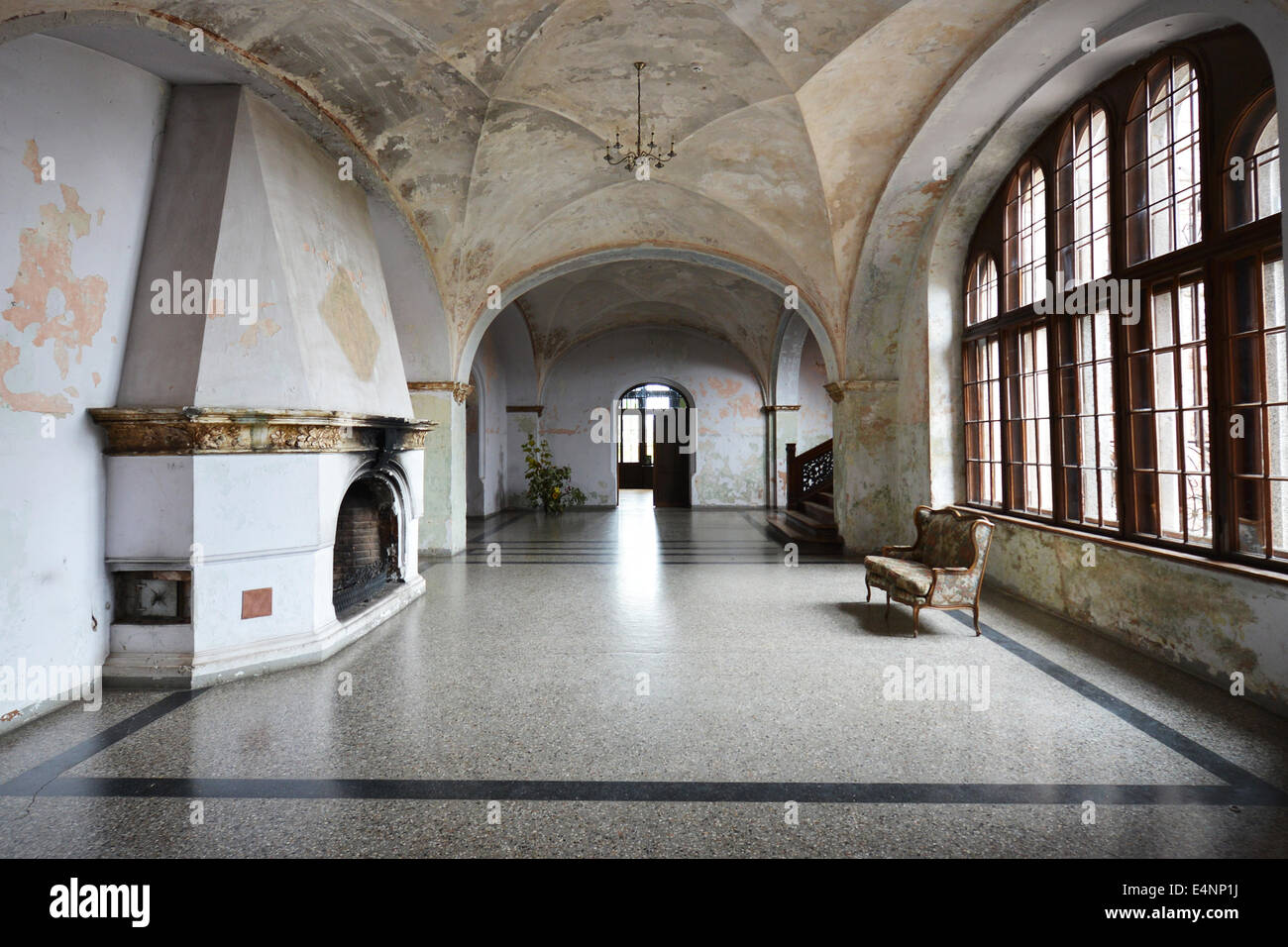 entrance hall in old castle - Stock Image