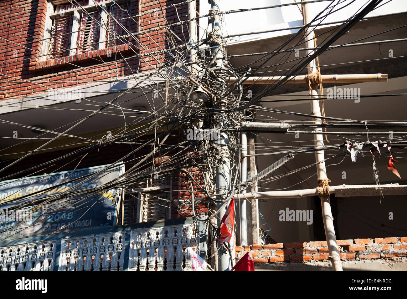 Complex electrical wiring, Beni, Nepal - Stock Image