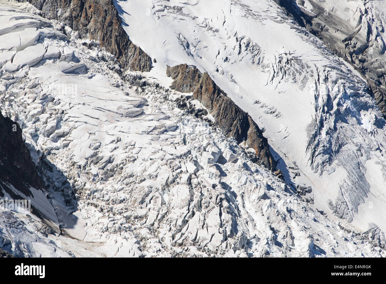 Seracs of the Bossons Icefall in the Mont Blanc massif, France. - Stock Image