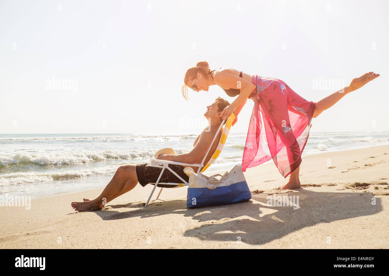 USA, Florida, Palm Beach, View of couple on beach - Stock Image