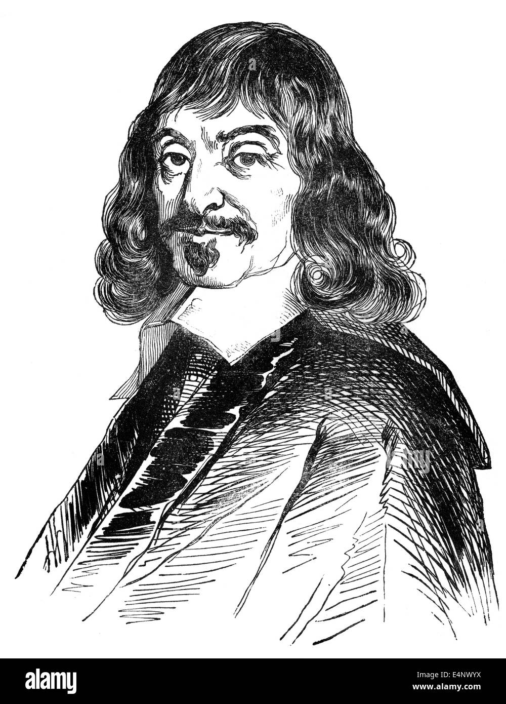 René Descartes or Renatus Cartesius, 1596 - 1650, a French philosopher, mathematician and scientist, Stock Photo