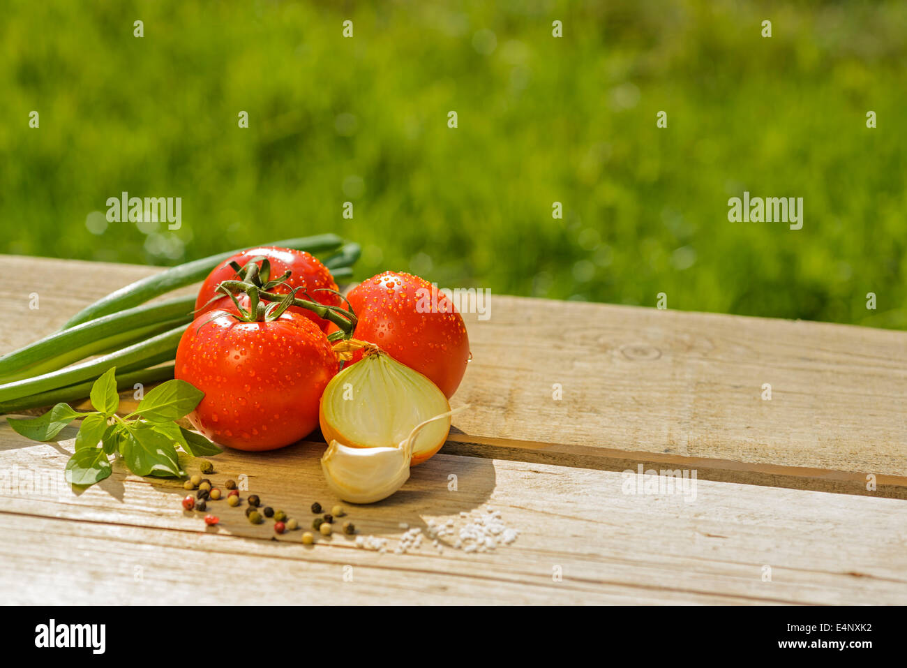 fresh tomatoes leeks onions garlic basil salt pepper red green wooden table outside in the open air sun summer - Stock Image