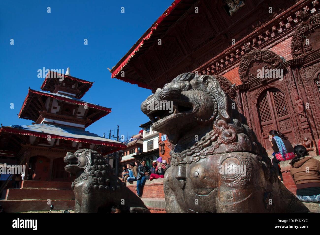 Pagodas at Durbar Square, Kathmandu, Nepal - Stock Image