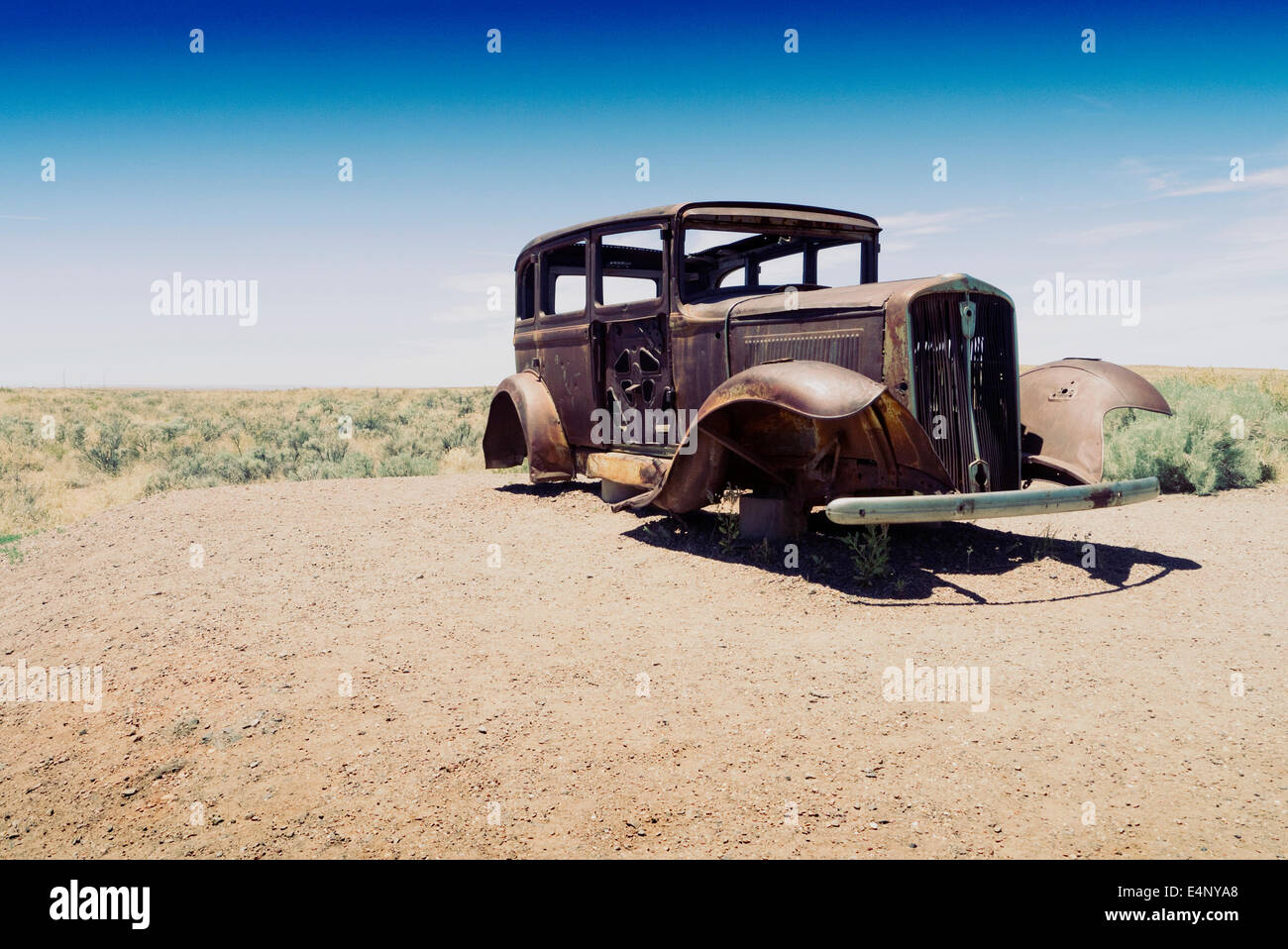 Route 66. Old car at the location of the highway in Petrified Forest National Park Arizona - Stock Image