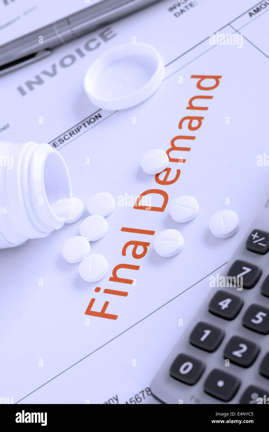 Overdue Invoice with final demand notification in red with scattered pills money worries or stress concept - Stock Image