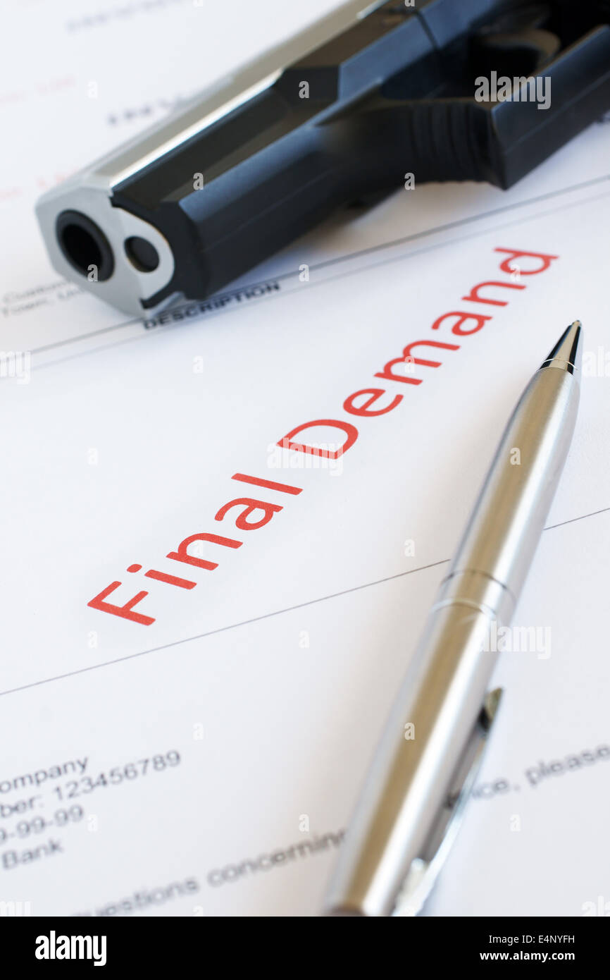 Overdue Invoice with final demand notification in red with a gun in the background money worries concept - Stock Image
