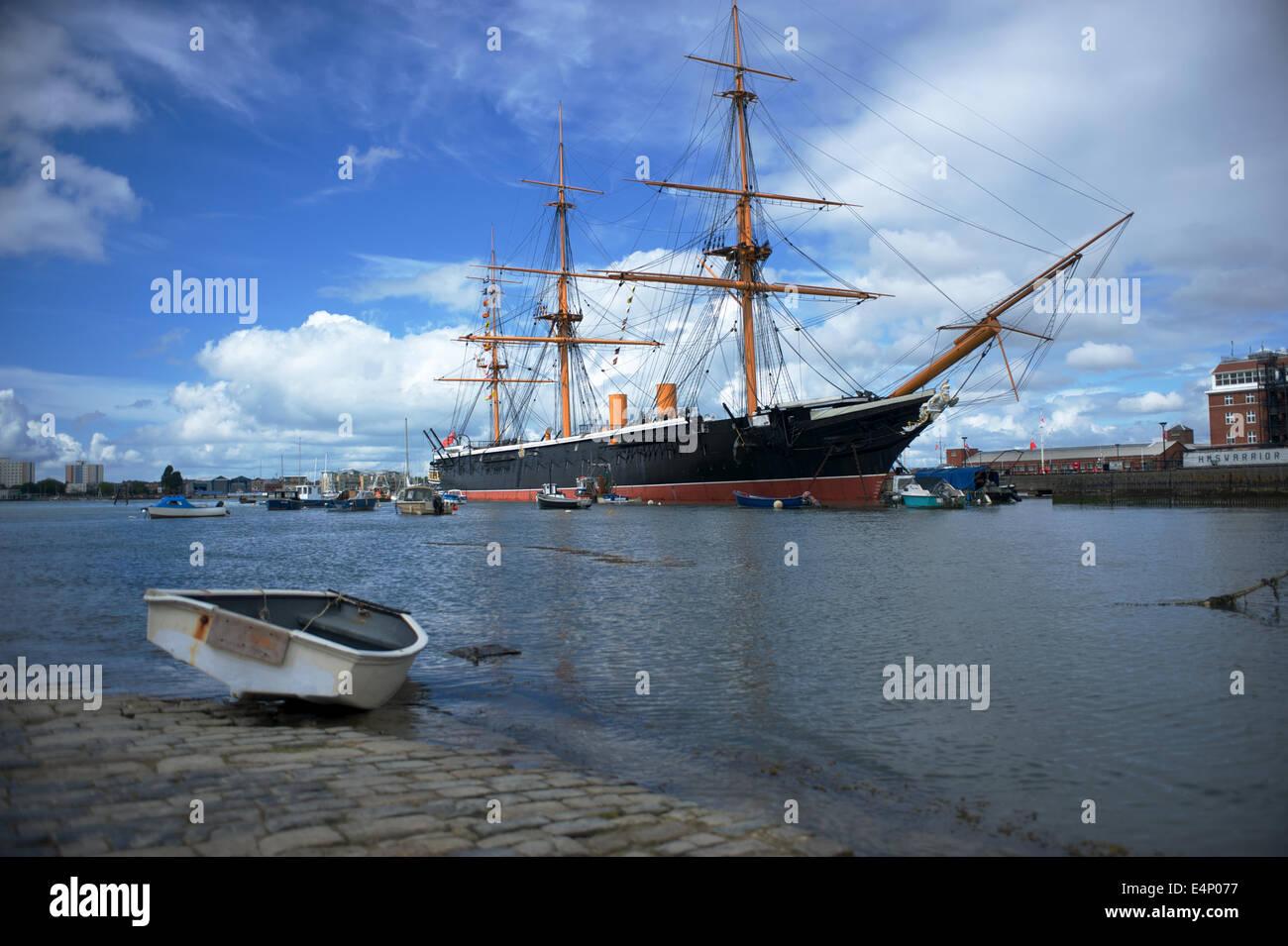 HMS Warrior, Portsmouth docks. Stock Photo