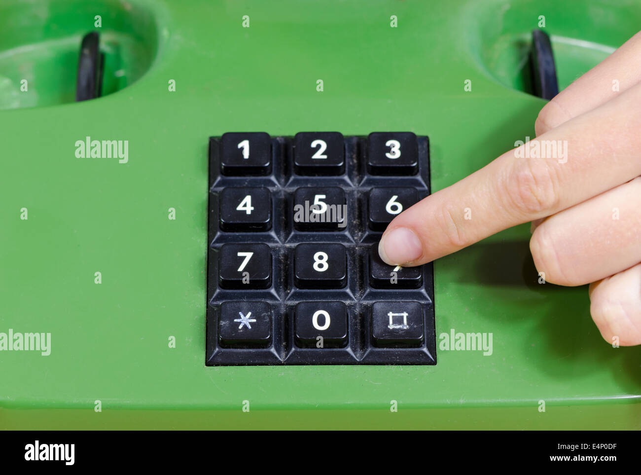 Human fingers press buttons with numbers on old retro telephone. Dialing with home phone. - Stock Image