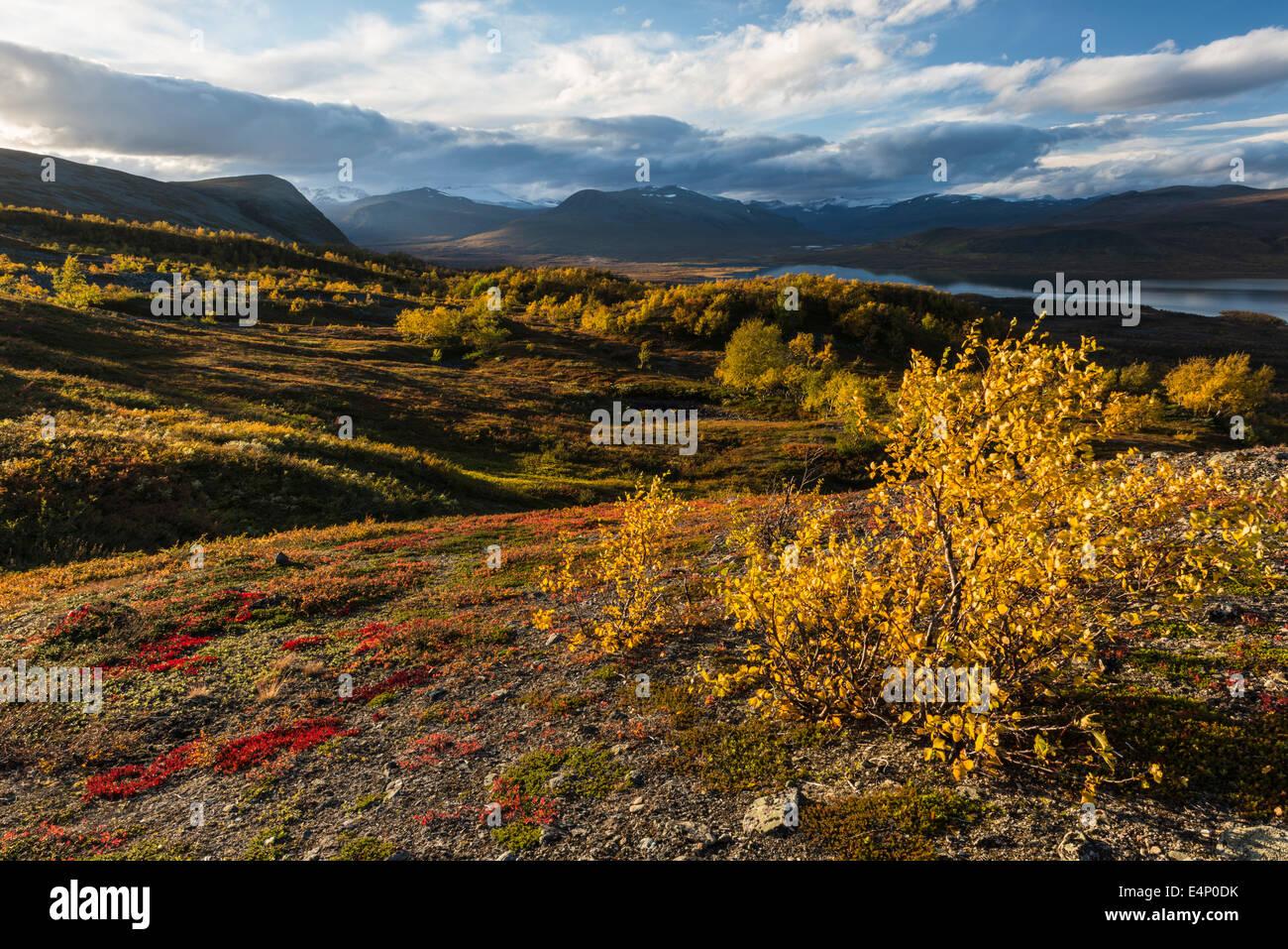 Blick auf den See Paittasjaervi und Berge im Kebnekaisefjaell, Norrbotten, Lappland, Schweden - Stock Image