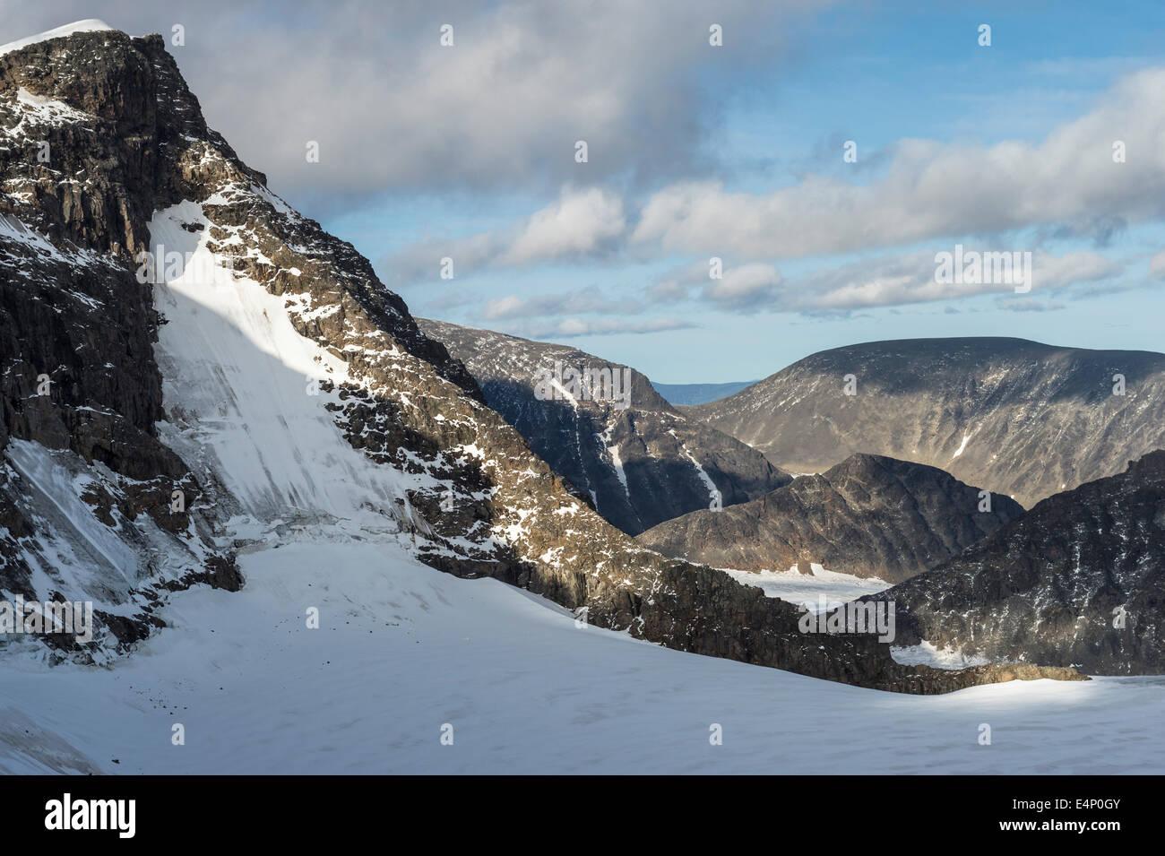 Bjoerlings Gletscher mit Kebnekaise-Suedgipfel, Norrbotten, Lappland, Schweden, - Stock Image