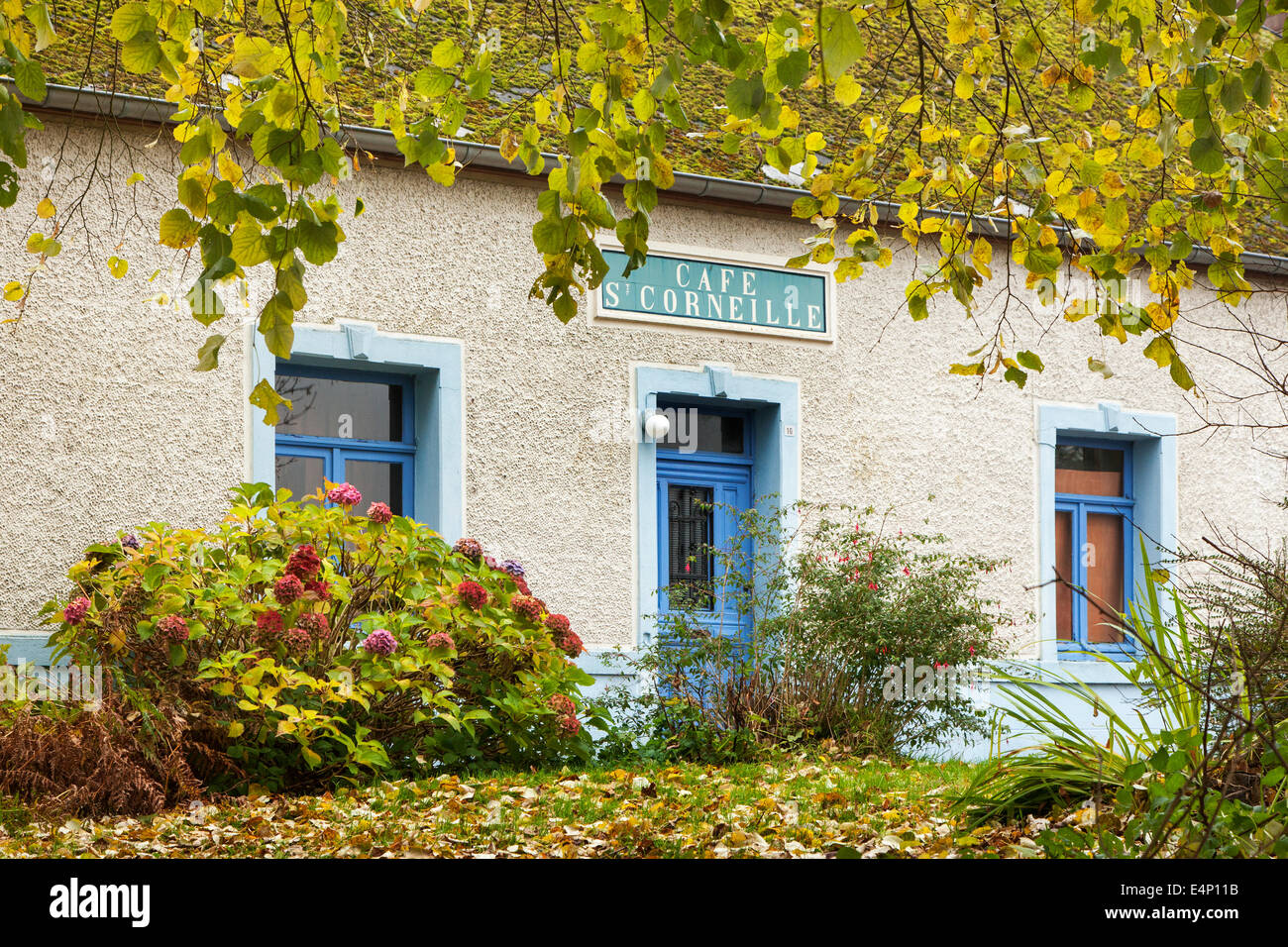 The café St Corneille at Forge-Philippe, Momignies, Hainaut, Belgium - Stock Image