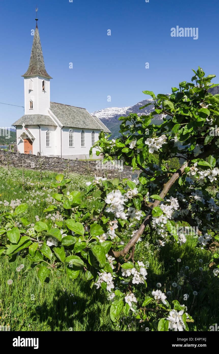 Kirche, Lustrafjorden, Luster, Sogn og Fjordane Fylke, Norwegen, - Stock Image