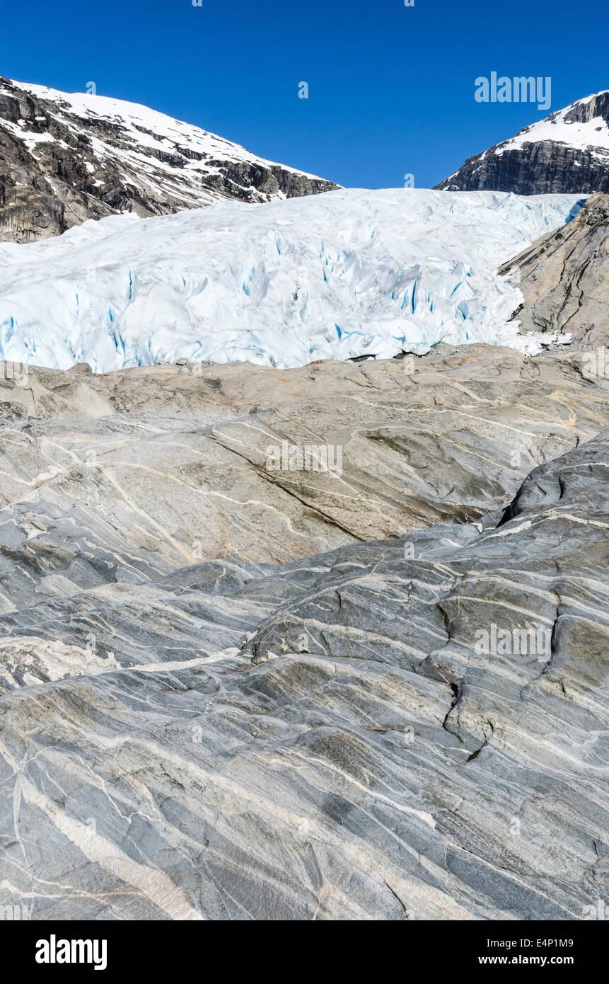 der Gletscher Nigaardsbreen, Jostedalsbreen Nationalpark, Breheimen, Luster, Sogn og Fjordane Fylke, Norwegen - Stock Image