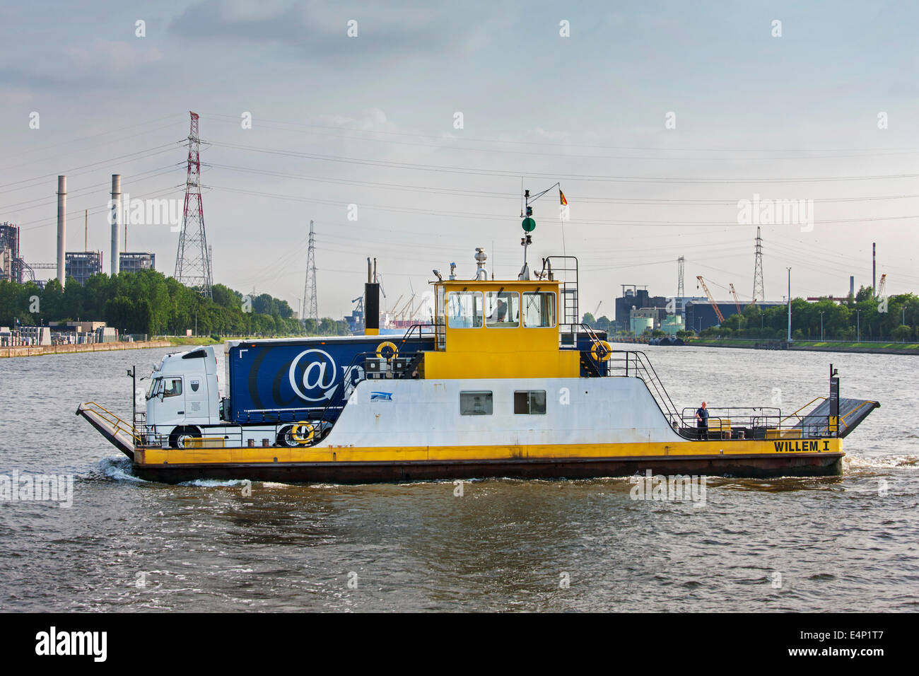 Ferryboat with truck at the Langerbrugge ferry line in the port of Ghent, East Flanders, Belgium - Stock Image