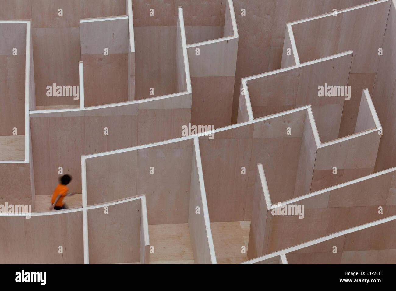 Large-scale maze at National Building Museum - Washington, DC USA - Stock Image