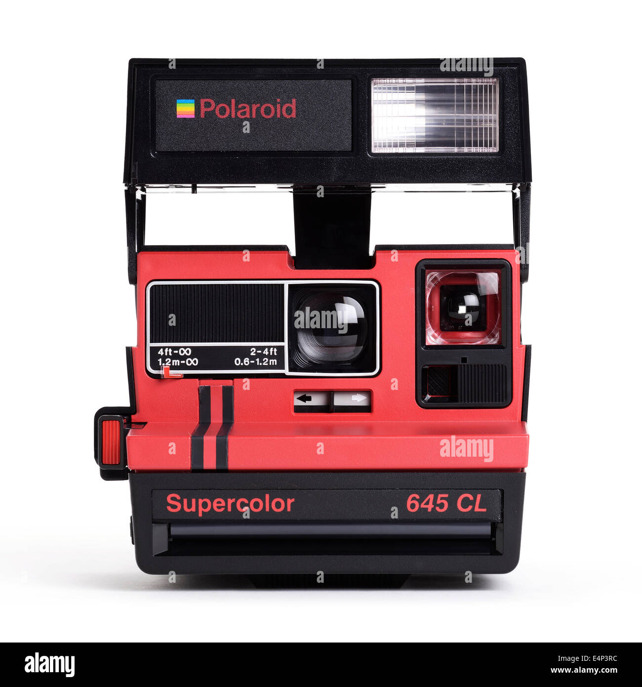 Vintage red Polaroid Supercolor 645 CL instant film camera - Stock Image