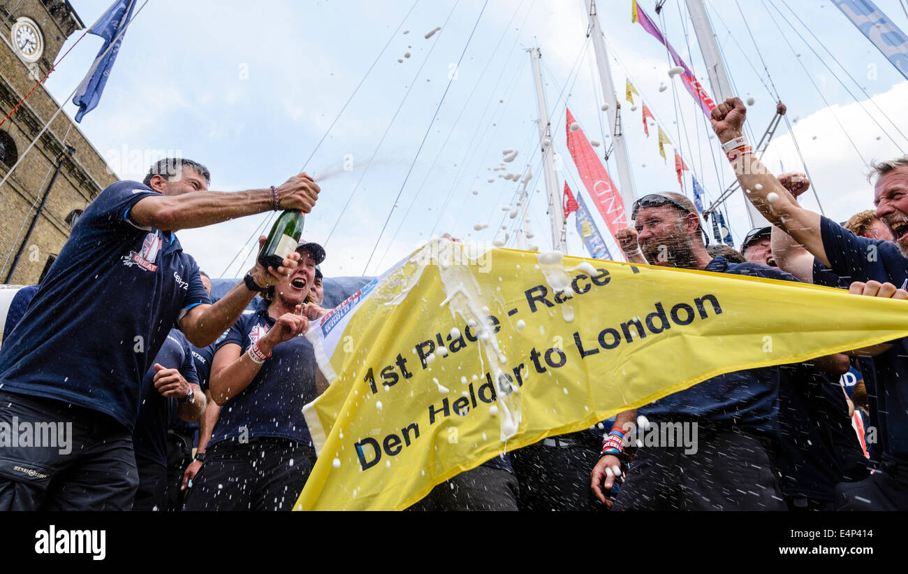 London, UK, 12/07/2014 :  Members of the GREAT team celebrate wining the final leg of The Clipper Round the World - Stock Image