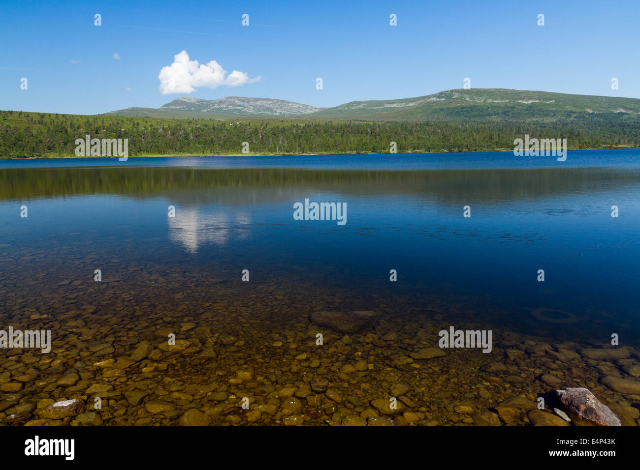 Lake Grövelsjön, situated in the Swedish and Norwegian mountains. A popular place for hiking and trekking. Stock Photo