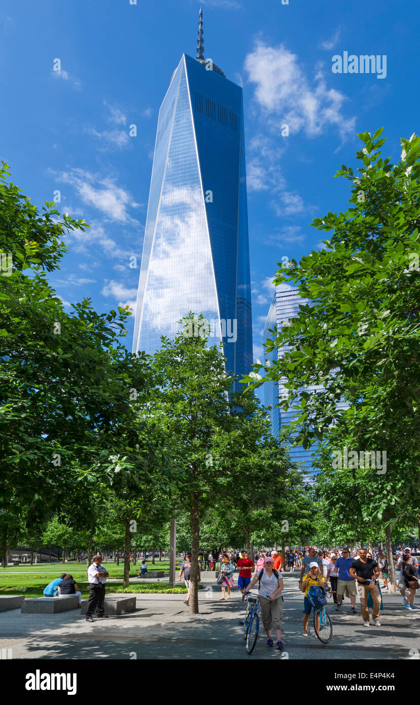New York City. One World Trade Center (the 'Freedom Tower') viewed from the National September 11 Memorial, - Stock Image