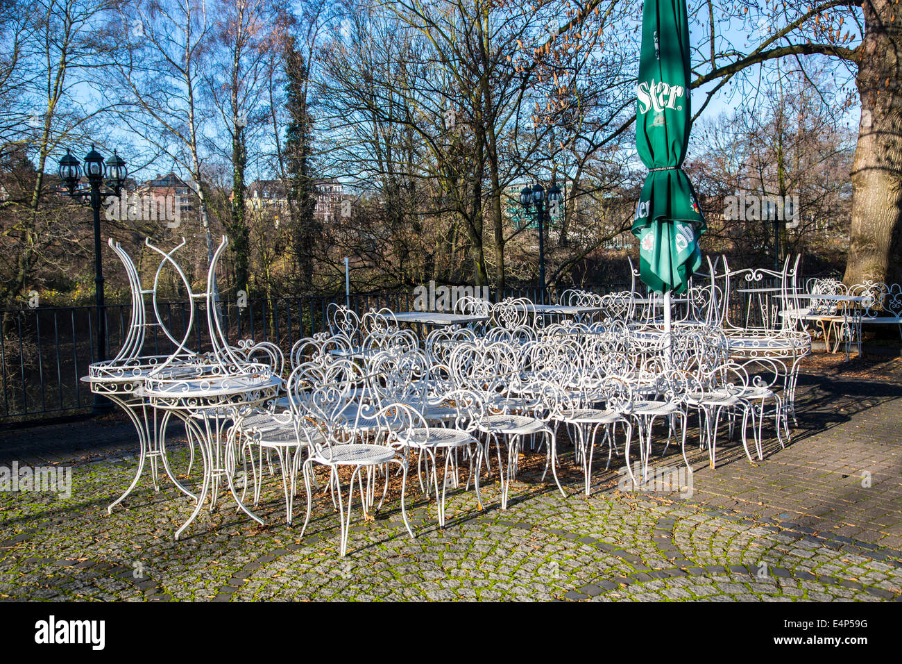 Winter Break, Tables And Chairs In A Cafe Stacked, Terrace,   Stock Image